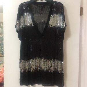INC Sequin top black and silver